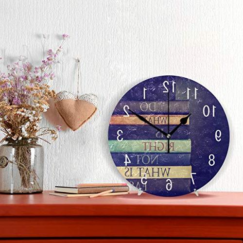 ALAZA Home Decor Quote Acrylic Clock Non Ticking for Bedroom