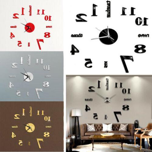 HOT! DIY 3D Mirror Surface Wall Clock Sticker Modern Home