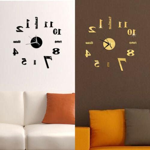 HOT! DIY Mirror Number Wall Clock Home