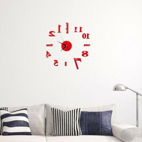 HOT! US DIY Mirror Surface Large Wall Clock Home Decor