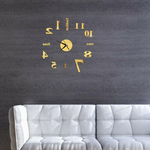 HOT! DIY Mirror Large Wall Clock Modern