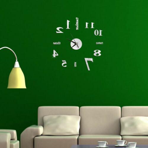 HOT! DIY Mirror Wall Clock Sticker Home