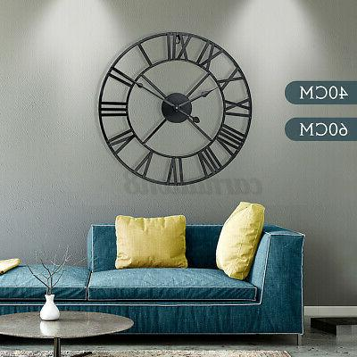 large roman numeral round wall clock metal