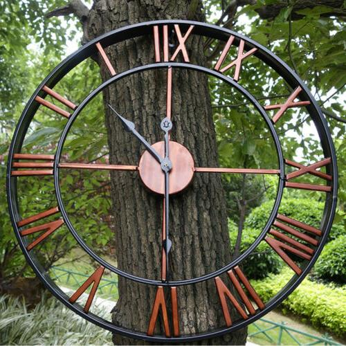 Roman Numeral Large Wall Clock Antique Retro 3D Round Silent