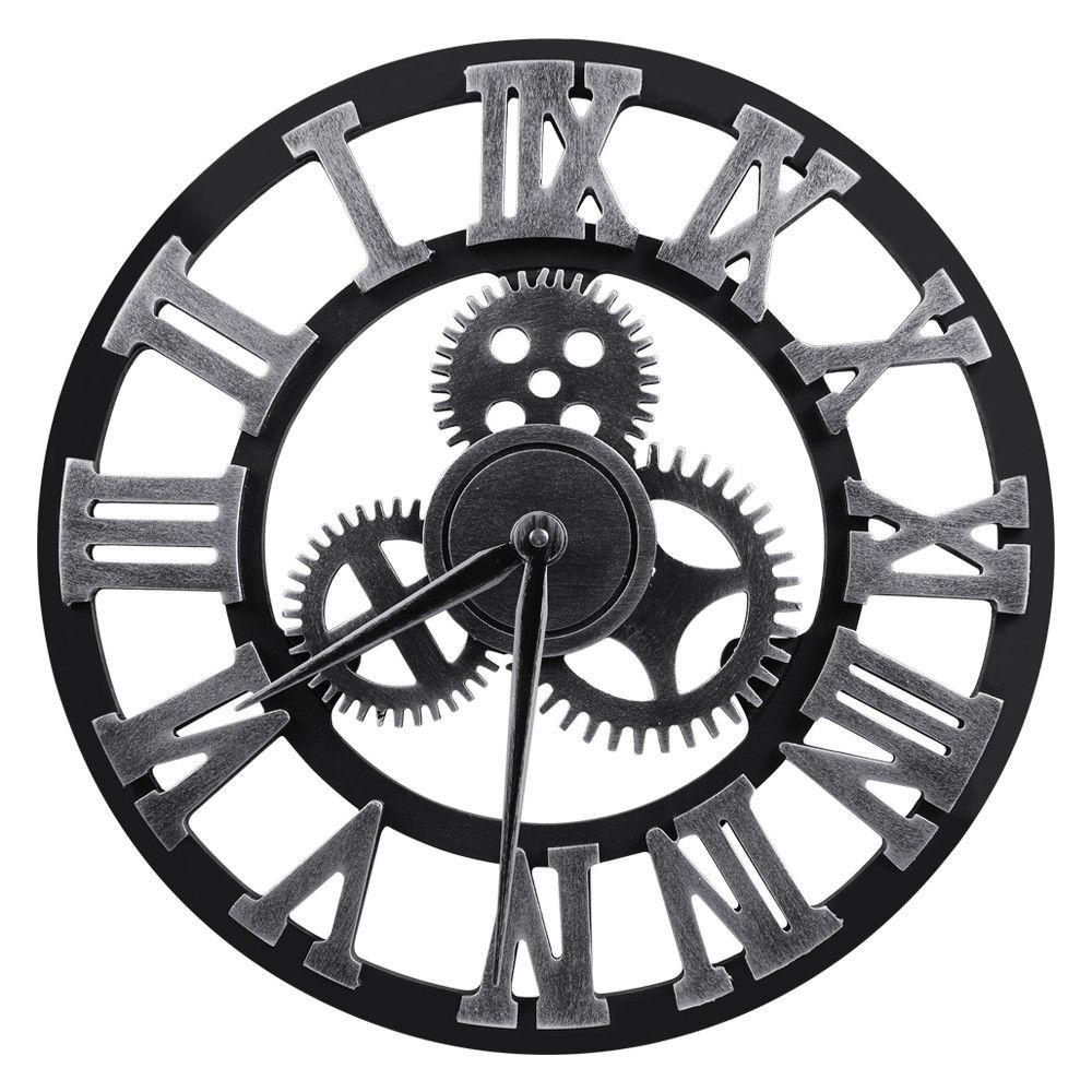 Large Wall Clock 3D Numerals Silent 16