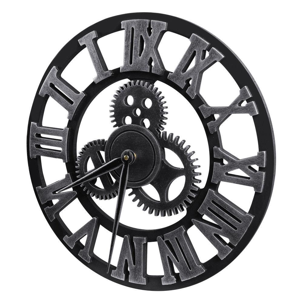 Large Wall Clock Antique 3D Numerals Silent