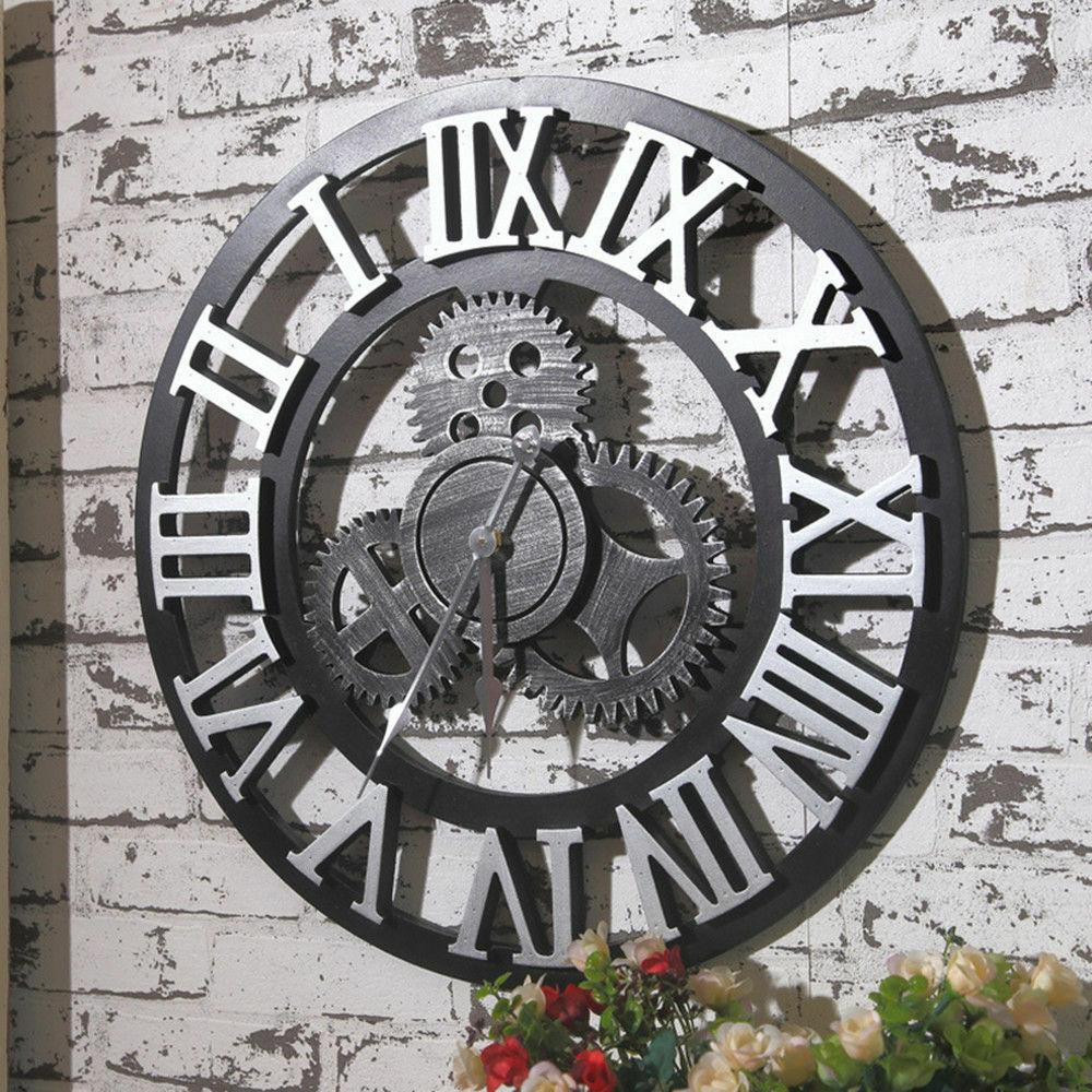 large wall clock antique 3d gear retro