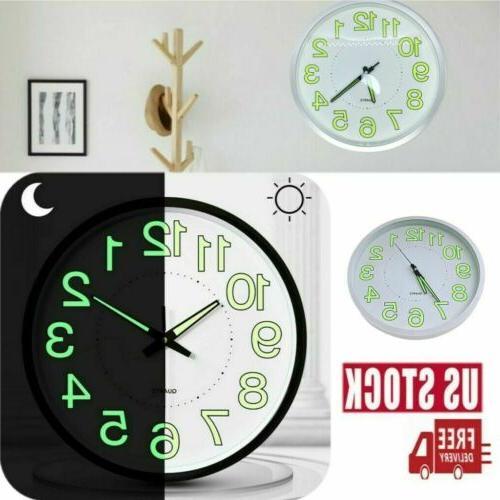 luminous glow 12 inch wall clock silent