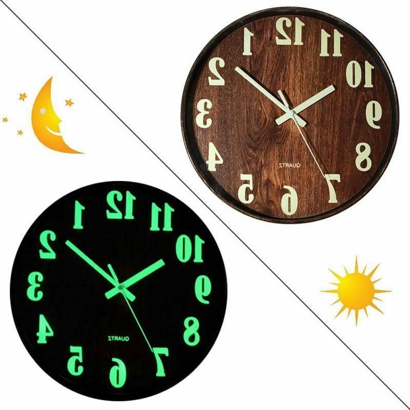 Luminous Night Clock Silent Quartz Bedroom 12'' Home Decor G