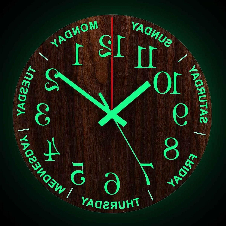 Luminous Wall Clock 12 Inch Wooden Silent Non Ticking Clocks