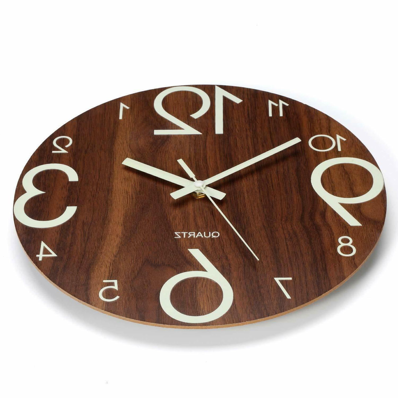 Luminous Clock Wooden Silent Kitchen Clocks W BROWN