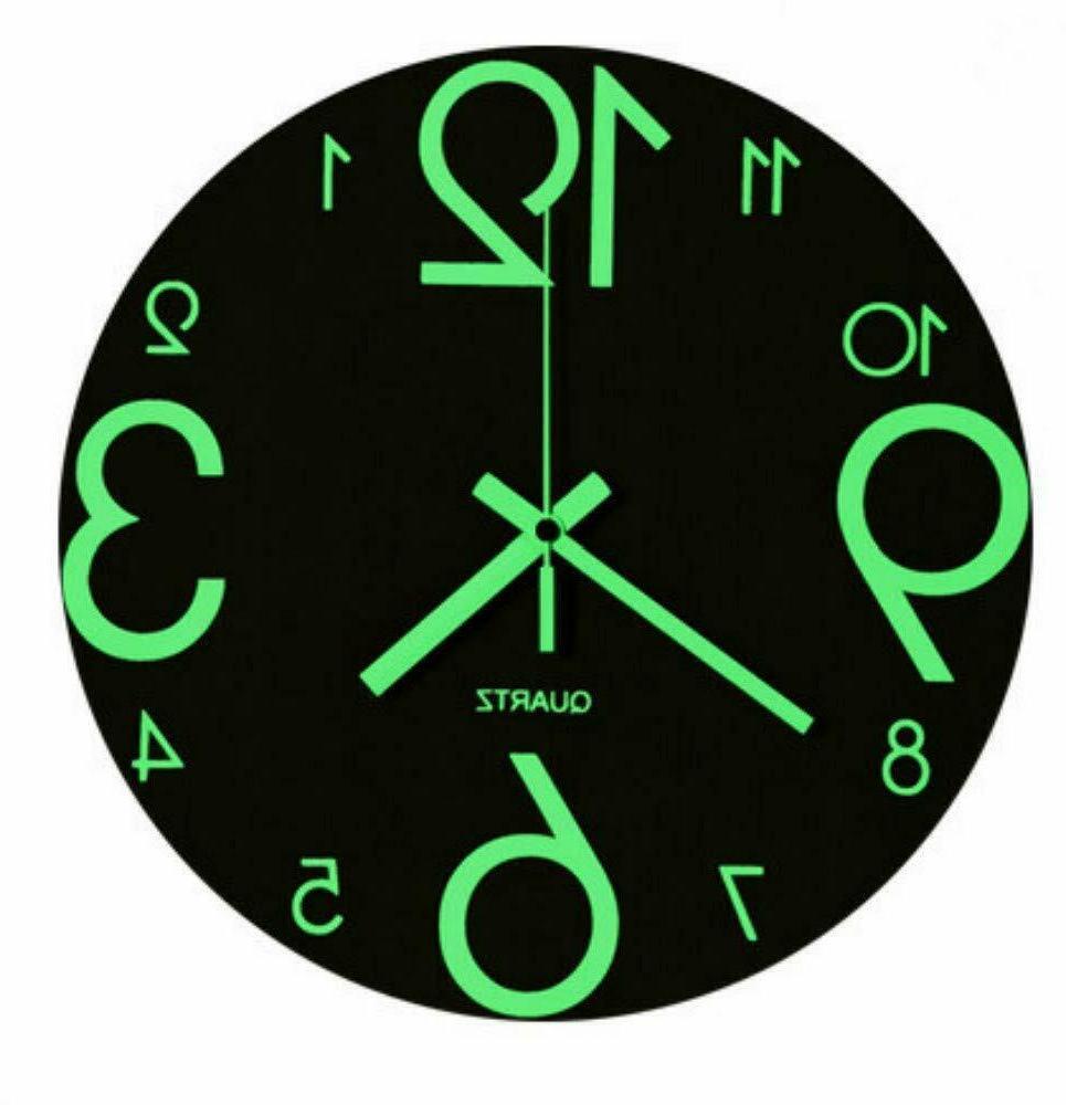 "Luminous Clock 12"" Wooden Silent Non Ticking Kitchen BROWN"