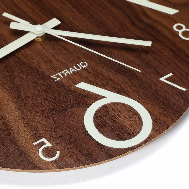 "Luminous Wall Clock 12"" Wooden Silent Kitchen Clocks BROWN"