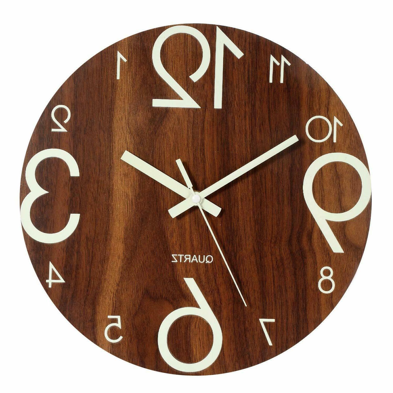 luminous wall clock 12 wooden silent non