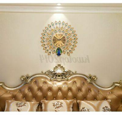 """Luxury Peacock Large Wall Clock 25"""" Living Room Decor Gift"""
