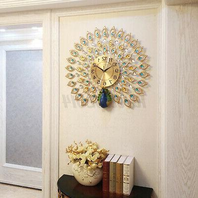 Luxury Peacock Large Wall Clock Metal Room Wall Decor Gift