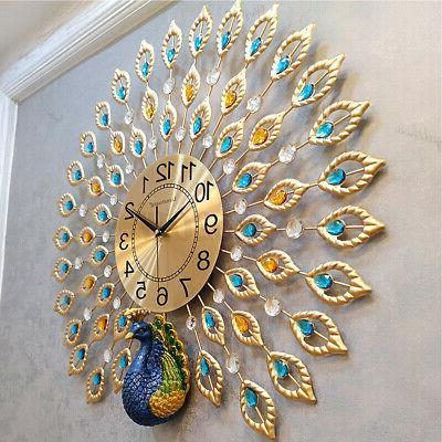luxury peacock large wall clock 25 metal