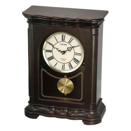 Seiko Mantel Clock with Musical Pendulum White Dial Brown Wo