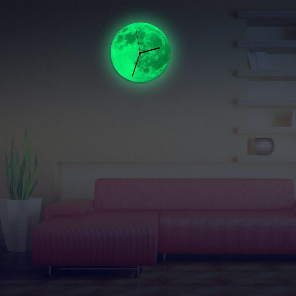 Modern 3D Wall Moon Glow The Dark Clocks Office US
