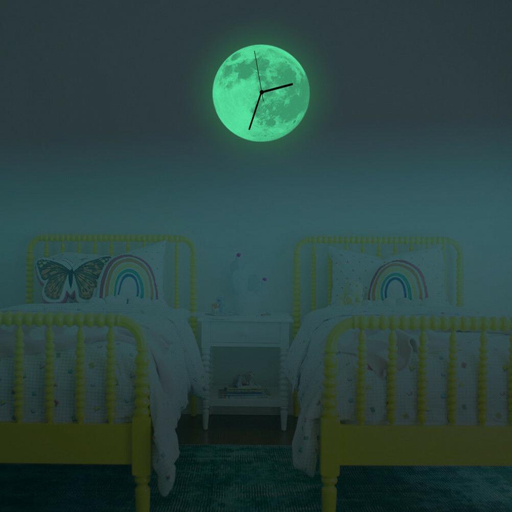 Modern 3D Clock Moon Glow In The Office Decor