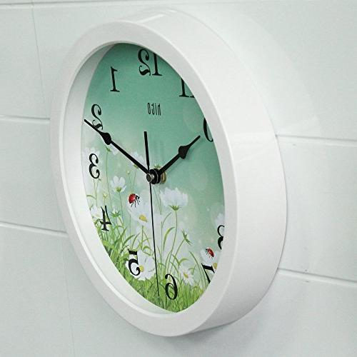 hito Floral Clock Ticking 10 inch Excellent Accurate Sweep Movement for Kitchen, Bathroom, Bedroom,