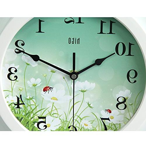 hito Wall Clock inch Movement Glass for Living Room, Bathroom, Office