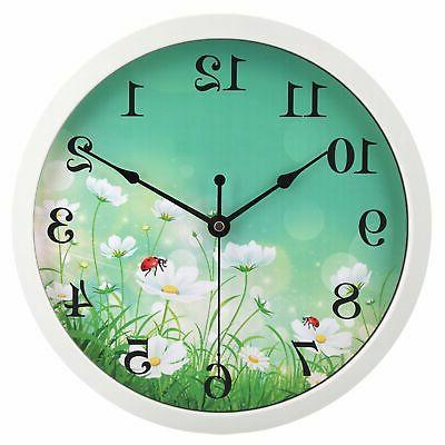 hito Clock Non Ticking inch Excellent Movement Glass for Bathroom, Office
