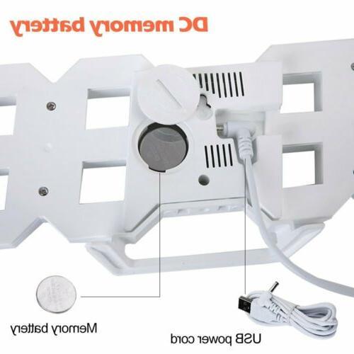 Modern Digital 3D LED Wall Large Alarm Clock Snooze 12/24 Hour Display USB