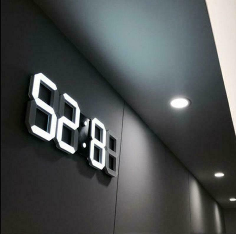 modern digital 3d white led wall clock