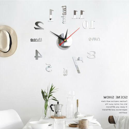 US Modern Large Wall Clock 3D Mirror Sticker Big Number Watc