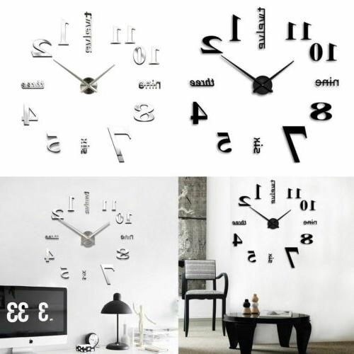 Mirror Surface Large Wall Clock Modern DIY 3D Sticker Home D