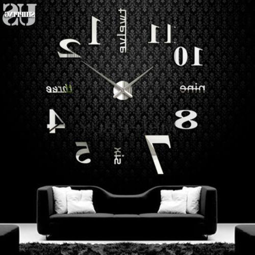 Modern DIY Large Clock Mirror Sticker Design New