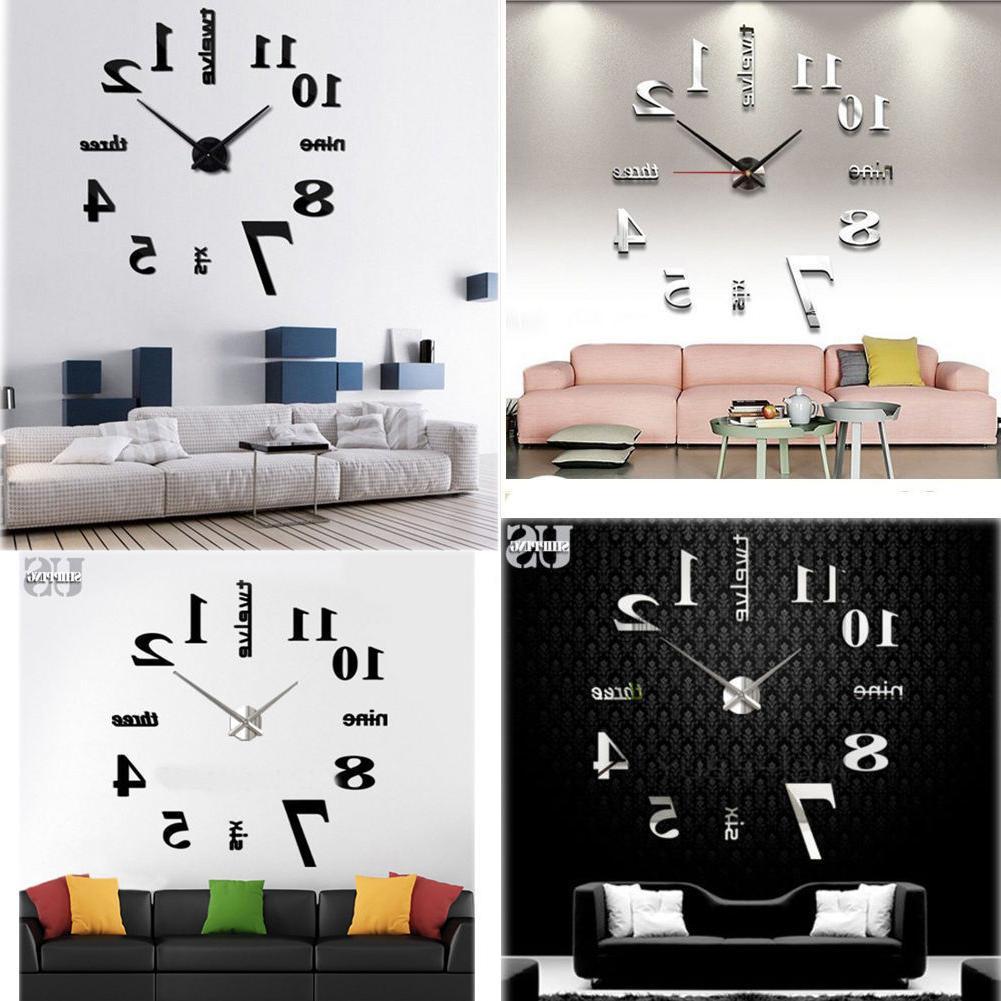 modern diy large wall clock 3d mirror