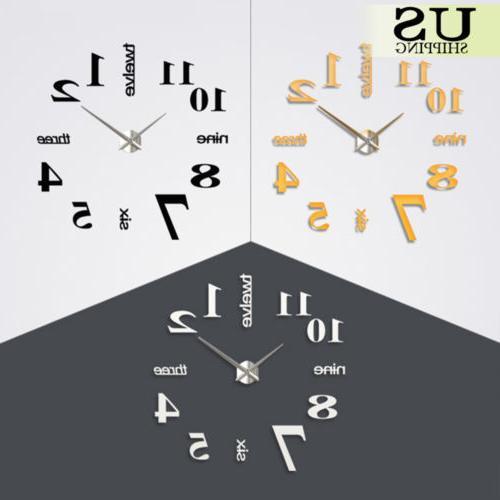 Modern Large Clock Kit Mirror Surface Room