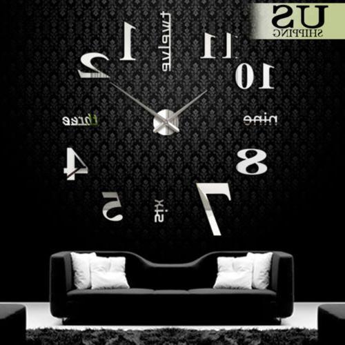 Modern Clock 3D Mirror Surface Sticker Room
