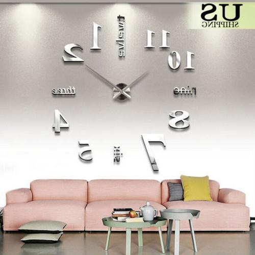 Modern Large Clock Kit 3D Surface Sticker Room Decor