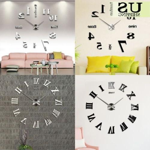 modern diy large wall clock kit 3d