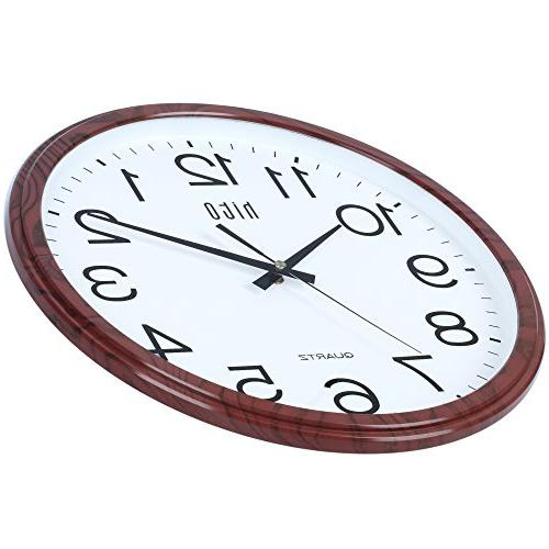 hito Modern Clock inch Excellent Movement Glass Cover, for Room, Bathroom,