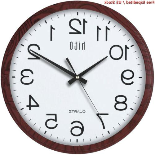 hito Modern Clock Ticking inch Movement Glass Decorative for Kitchen, Living Room, Bathroom, Bedroom,