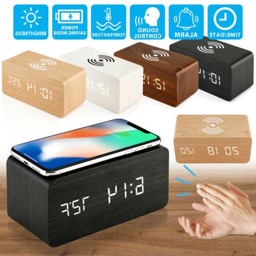 modern wooden wood digital led desk alarm