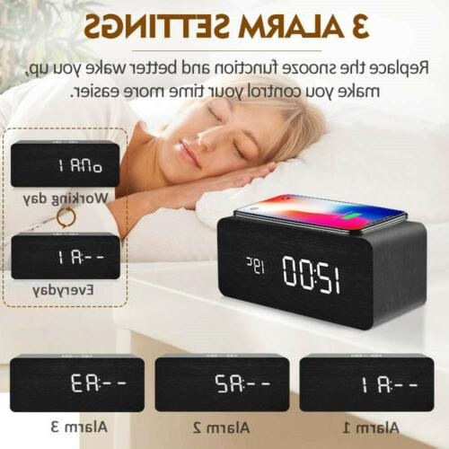 Modern Wooden LED Desk Alarm Clock Thermometer Qi