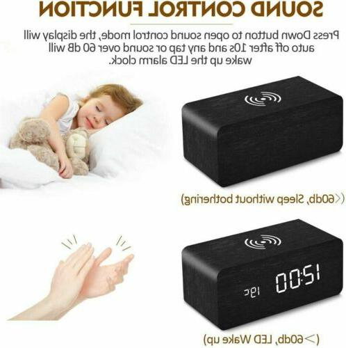 Modern Wooden Wood LED Alarm Thermometer Qi