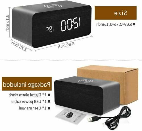 Modern LED Alarm Clock Thermometer Qi