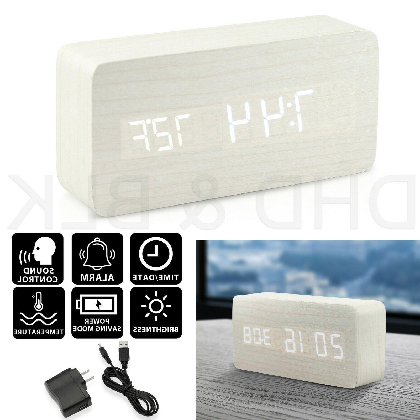 Modern Wooden Alarm Wood Digital LED Calendar Thermometer