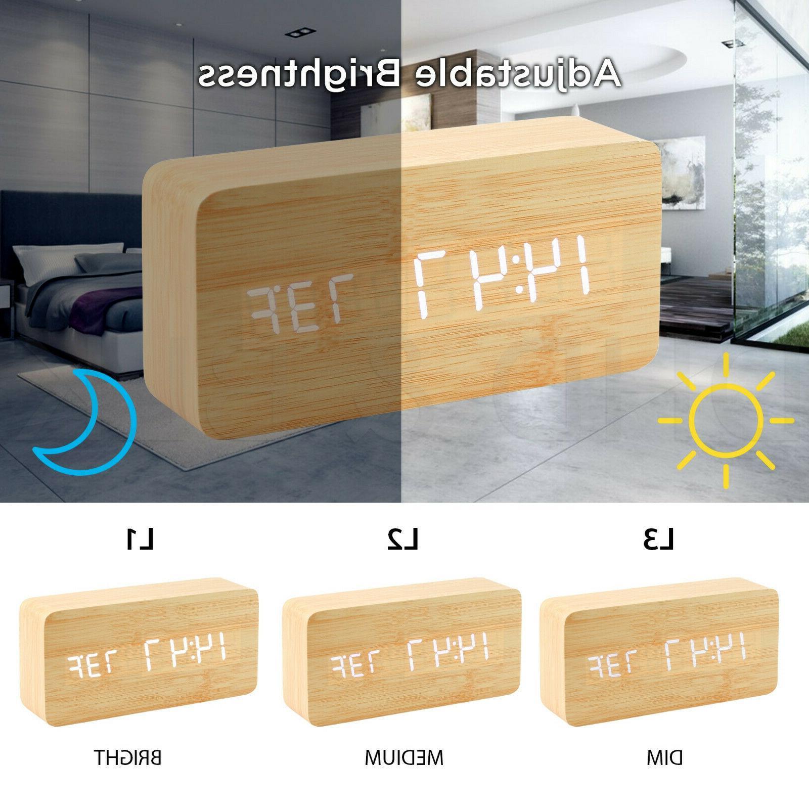 Modern Wooden Alarm Wood USB/AAA Calendar Bedroom