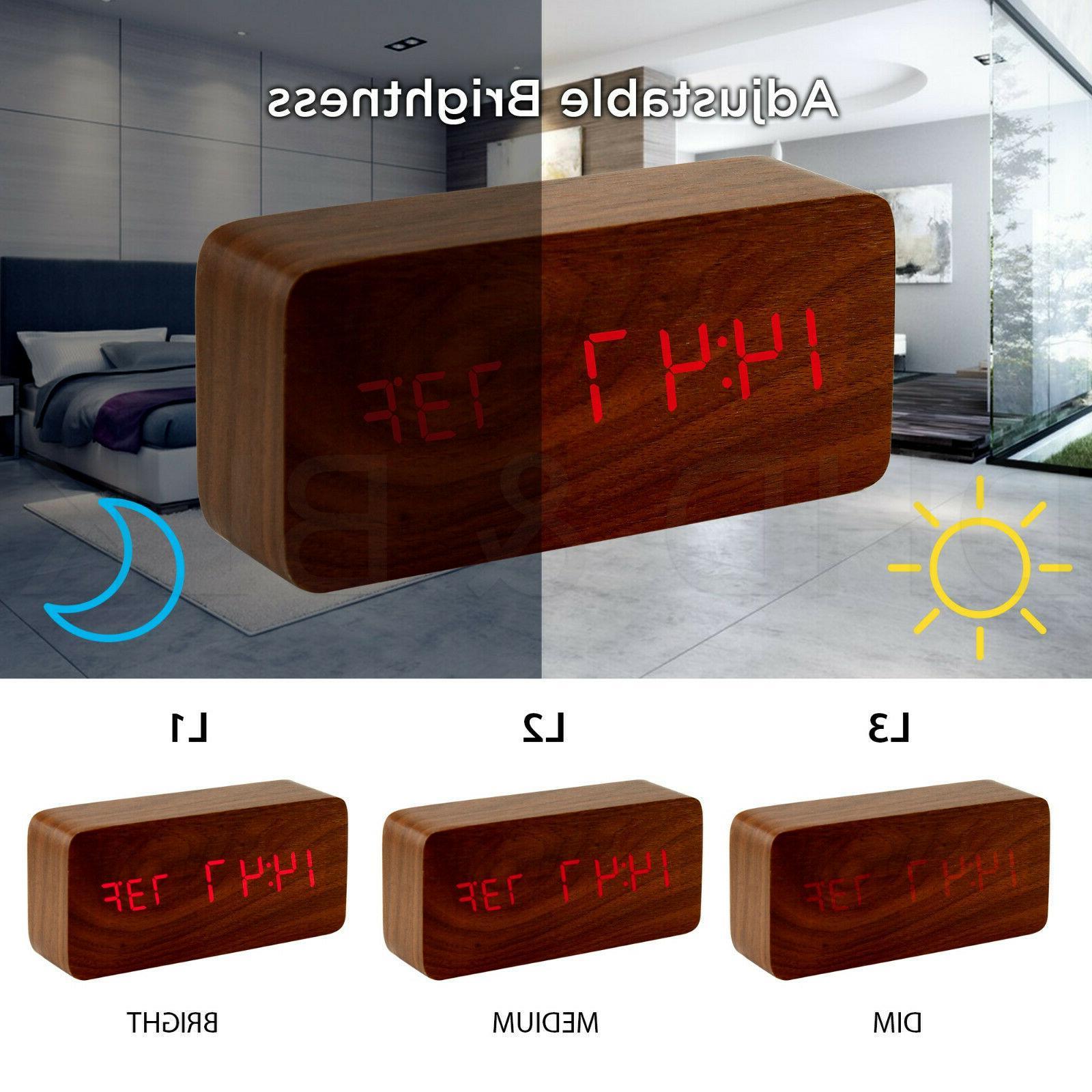Modern Wood USB/AAA LED Calendar Bedroom