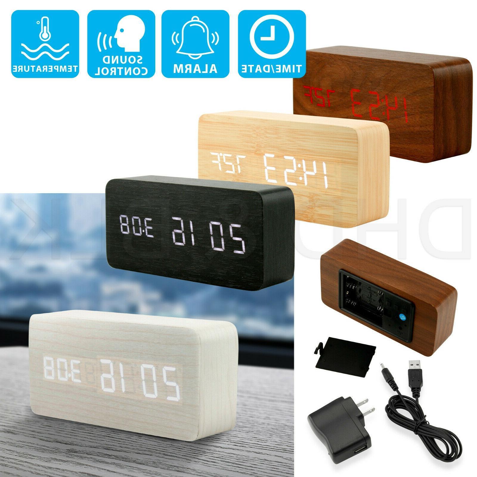 modern wooden wood usb aaa digital led