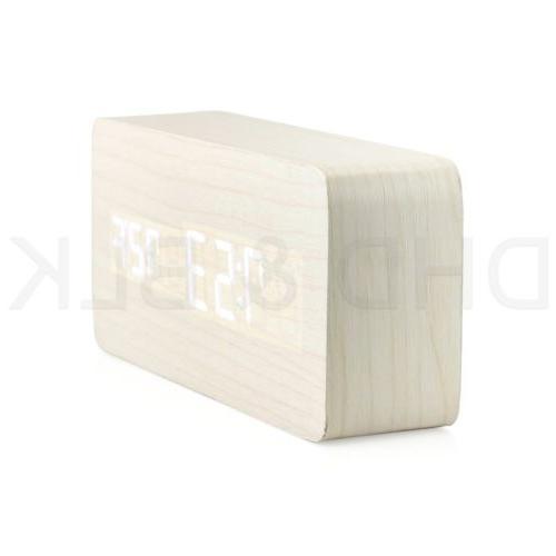 Modern Wooden Wood Digital Calendar Thermometer