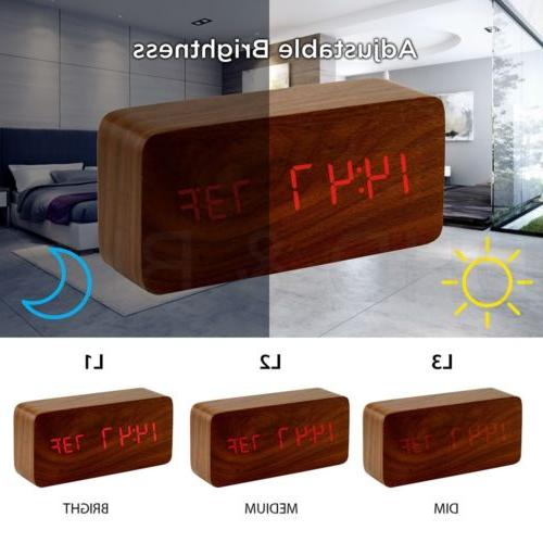 Modern Wooden Alarm Clock Wood USB/AAA