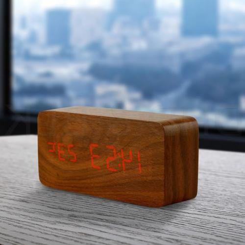 Modern Wooden Clock Wood USB/AAA Digital LED Calendar Bedroom